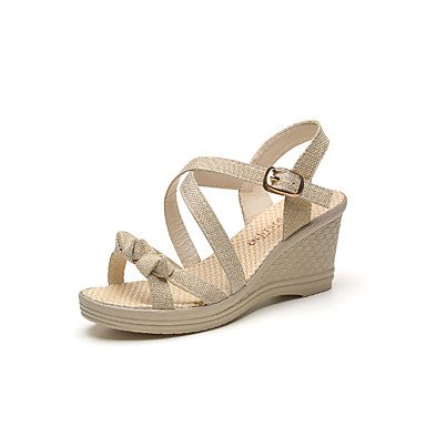 YFF Sandales femmes Confort Printemps occasionnels PU talon plat,Beige,US9 / EU40 / UK7 / CN41