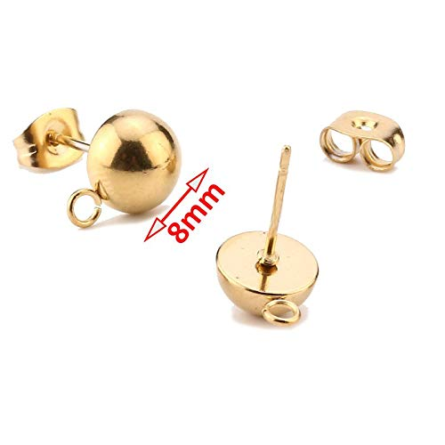 Gold Hollow Round Disc Ear Posts 10mm 18K Gold Plated Stainless Steel Geometric Disk Stud Earring Components with Hole