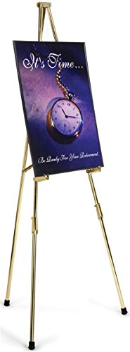 (Displays2go 1 x 72 x 4 Inches Brass Plated Steel Instant Easel, Free-Standing, Adjustable with Non-Skid Rubber Feet (HCEBR))