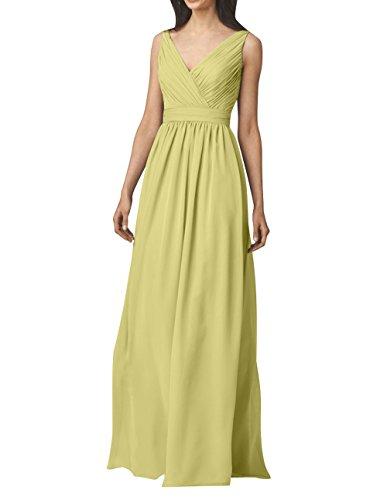 Abendkleider Brautjungfernkleider Rock Einfach Langes mit Chiffon Gelb Festlichkleider mia V La Partykleider A Ausschnitt Linie Brau xPXqInR