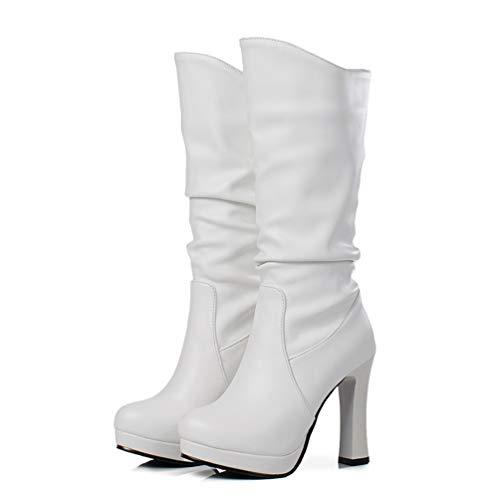 DETAWIN Women Platform Mid Calf Boots PU Soft Leather Fashion Round Toe Half High Heels Boots