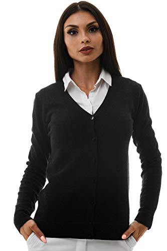 KNITTONS Women's Wool V-Neck Cardigan Button Up Long Sleeve Sweater (Black Melange, X-Large)