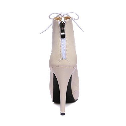 AgooLar Women's Solid Microfiber Spikes Stilettos Peep Toe Zipper Sandals apricot dfa6Gd