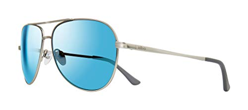 Revo Unisex RE 5015 Johnston Aviator Polarized UV Protection Sunglasses, Satin Silver Frame, Blue Water ()