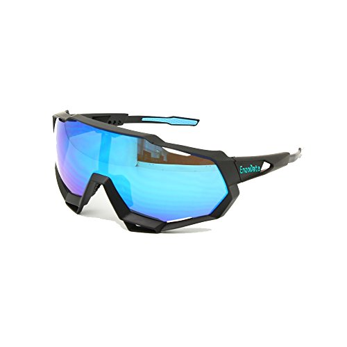 EnzoDate Cycling Sunglasses UV400 Polarized 3/4 Lens Kit Downhill Race Motorcycling Race Goggles Wear with Helmet Outdoor Sports (blue black, 5 Lens (1 Transition+1 Polarized out of ()