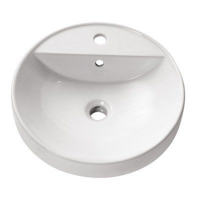 Semi Recessed 18 in. Round Vitreous China Sink in White