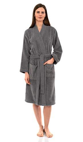TowelSelections Women's Robe Turkish Cotton Terry Kimono Bathrobe X-Large/XX-Large Cloudburst