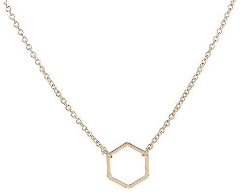 Adecco LLC Gold Hexagon Necklace - Delicate Gold Necklace, Geometric Jewelry, Dainty Gold Necklace, Minimalist Necklace (Gold)