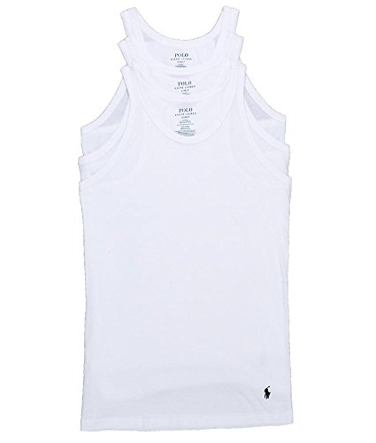 Polo Ralph Lauren Slim Fit Tank 3-Pack, L, White Pack (Lauren Ralph Polo Top)