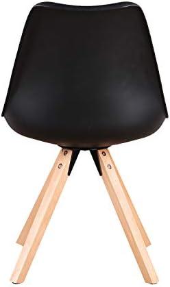 JIASEN 1234 Lot de 4 chaises de salle à manger avec coussins en cuir synthétique et pieds en bois de hêtre pour salle à manger, salon, chambre à coucher, cuisine (noir)