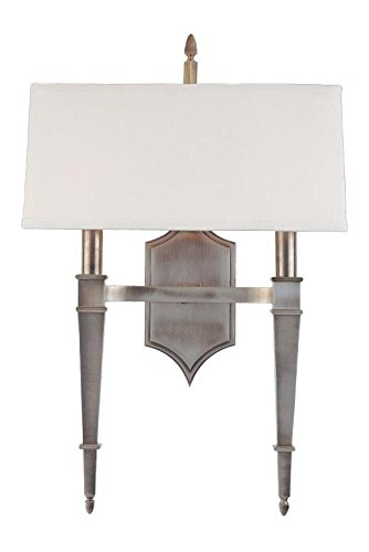 Historic Nickel Two Light Up Lighting Brass Double Wallchiere Style Wall Sconce with Rectangular Faux Silk Shade