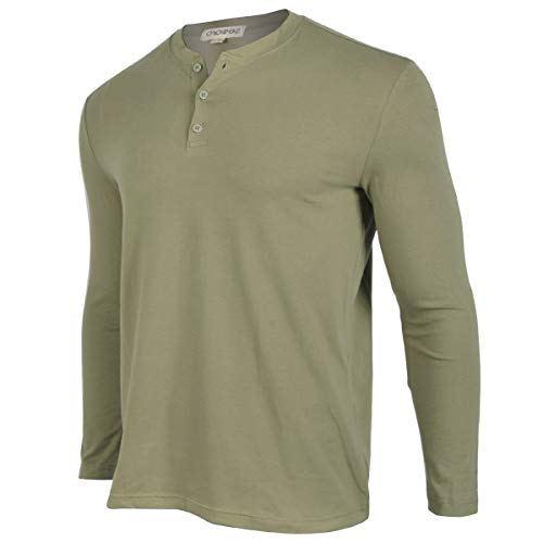 Men Casual Long Sleeve Shirts Henley Work Cotton Tee Shirt V Neck Button Stylish Loose Slim Fit T Shirt Sport Workout Outdoor Wear Gym Beach Party Hiking Travel Business Autumn Spring(M, Green)