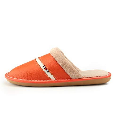El Orange Cuero Algodón Slippe De En Antideslizantes Para New Memoria Piso exteriores Hogar Y Hombres Interiores Invierno Espuma Mujeres Zapatos Zapatillas nRAxzZ