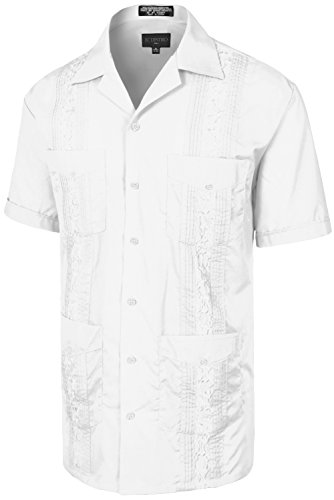 (Men's Premium Classic Embroidered Guayabera Short Sleeve White Shirt S)