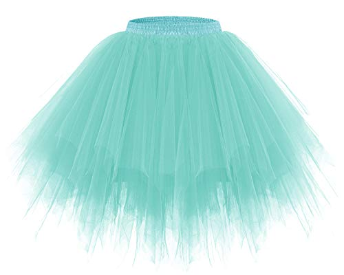 Bridesmay Women's Tutus Tulle Skirt 50s Vintage Petticoat Ballet Bubble Skirts Light Blue XL -