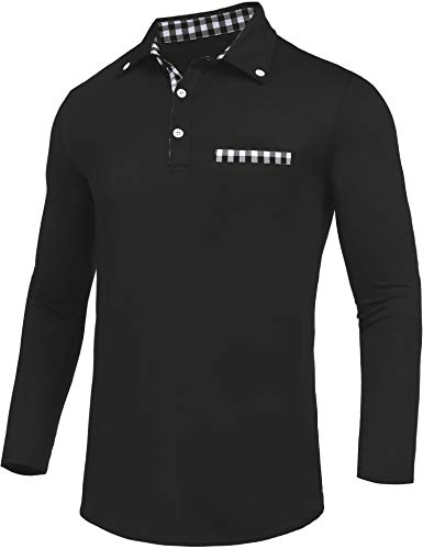 Daupanzees Men's Polo Shirts Fashion Solid Big and Tall 2018 Stylish Contrast Color Regular-Fit Plaid Long Sleeve Jersey Polo Collar T Shirt (Black (Fashion Polo T-shirt)