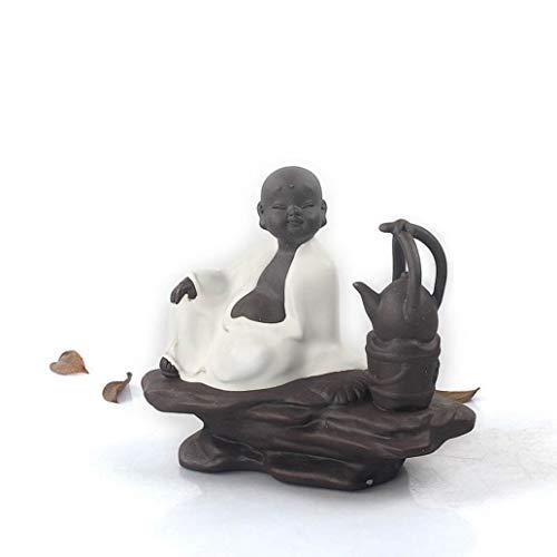 Cerative Boutique Tea Set Tea Pet Ceramic Porcelain Ice Crackle Kiln Cute Monk Buddha Teapot Teapet Ornament ()