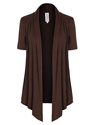 MixMatchy Women's [Made in USA] Solid Jersey Knit Short Sleeve Open Front Draped Cardigan (S-3XL) Brown S Brown Short Sleeve Sweater