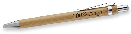 Dimension 9 Eco-Friendly Laser Engraved Personalized Bamboo Name Ballpoint Plunge-Action Pen with Chrome Accents - 100% Angel (BBPEN-100% Angel)