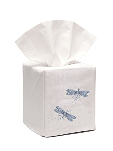 Jacaranda Living Linen/Cotton Tissue Box Cover, Two Dragonflies, Duck Egg Blue