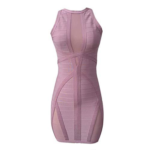 Women's Sleeveless Bodycon Bandage Dress Sexy Mesh Dress Evening Party (Small, Purple)