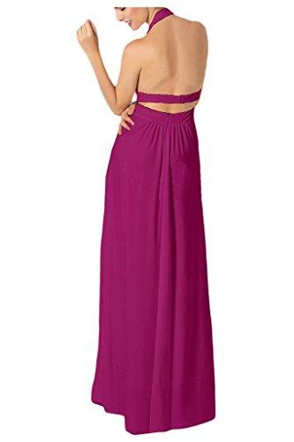 Toscana novia Chic al cuello con estampado de Gasa de noche por la noche de la moda de largo de dama de honor vestidos de bola Prom vestidos de fiesta fucsia