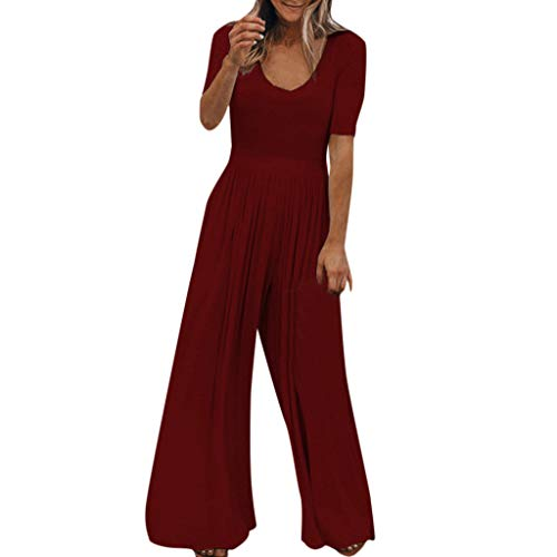 Caopixx Womens Jumper Wide Legs Short Sleeve One Piece Casual Loose Long Pants Jumpsuit Romper Wine