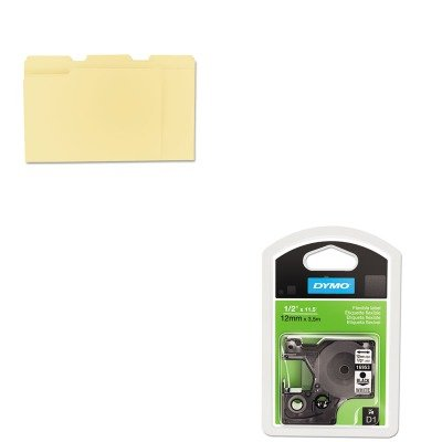 KITDYM16953UNV12113 - Value Kit - Dymo D1 Flexible Nylon Label Maker Tape (DYM16953) and Universal File Folders (UNV12113)