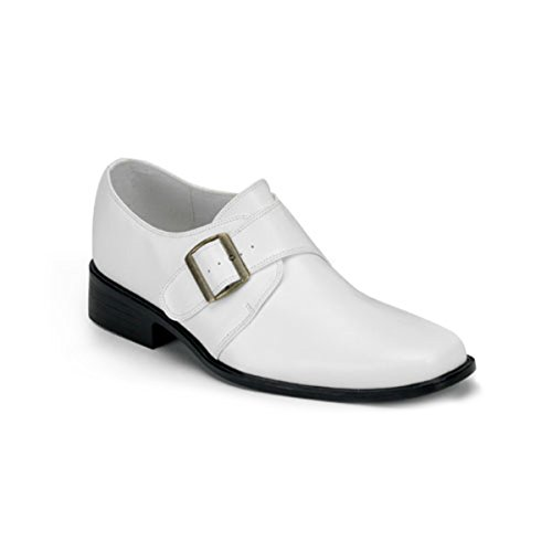 Elvis Costume Designer (White Poly Low Heel Shoe Costume Accessory MENS SIZING Gangster Elvis Size: X-Large)
