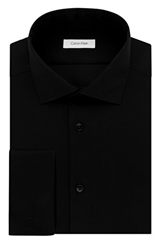 Calvin Klein Men's Non Iron Slim Fit Herringbone French Cuff Dress Shirt, Black 17.5