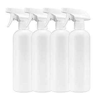 OKIAAS Plastic Spray Bottle (4 Pack, 16oz), All-Purpose Chemical Resistant Empty Squirt Bottles for Household, Commercial and Industrial Use