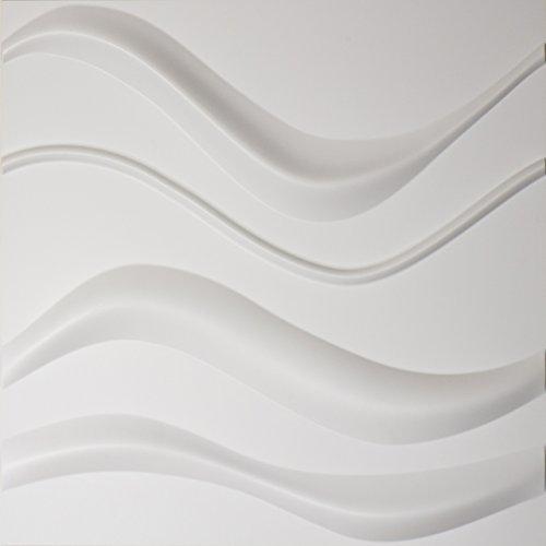 Easy Peel & Stick, Durable Plastic Textured Decorative 3D Wall Panel - GAPLESS WAVE Design. 12 Panels. 32 SF