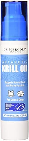 Dr. Mercola Antarctic Krill Oil Liquid Pump for Pets – 1.6 Fl Oz. 100 Mg – Rich in Omega-3-6 Fatty Acids and Astaxanthin – Supports Normal Brain and Nerve Function for Cats and Dogs