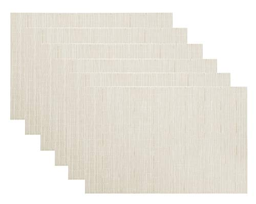 (LivebyCare Low Profile Non-slip Vinyl Pack of 6 Textilene PVC Home Placemats Decoration Dinner Durable Washable Table Mats for Kitchen Dining Table Place Mats 11.8X17.7 In, Off White)