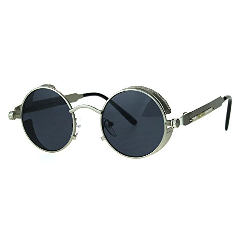 Victorian Vampire Steampunk Round Circle Lens Vintage Style Metal Sunglasses Silver (Vampire Sunglasses)