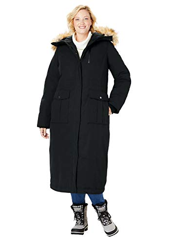 - Woman Within Women's Plus Size The Arctic Parka in Extra Long Length - Black, 22/24