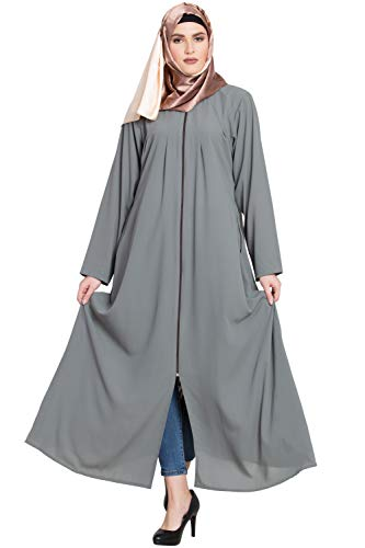 Abayalooks Grey Zipper Abaya For Women For Womens And Girls For Women