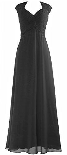 Party Schwarz Chiffon Lace Women Dress Gown Cap MACloth Sleeve Formal Prom Long Wedding BzRqWw