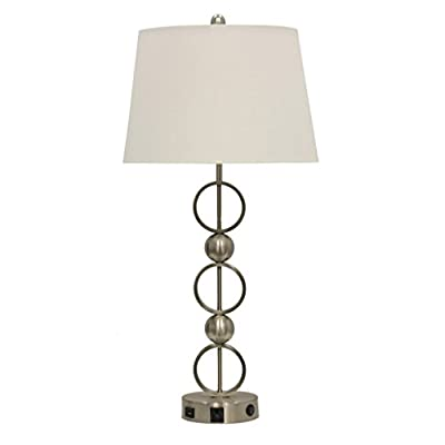 Abode 84 Metal Table Lamp with Outlet, USB Port, and Base Switch - Modern, contemporary accent decor Ideal for living room, bedroom, study, or any area that could use more light Brushed steel metal base with cloth shade - lamps, bedroom-decor, bedroom - 31nxCFNvMZL. SS400  -
