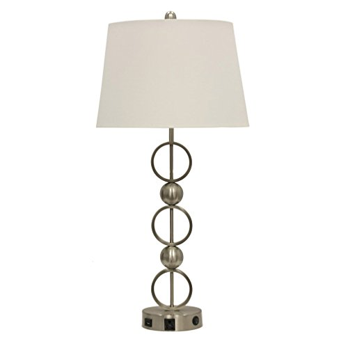 Abode 84 Metal Table Lamp with Outlet, USB Port, and Base Switch
