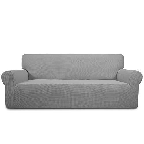 Easy-Going Stretch Sofa Slipcover Sofa Cover Furniture Protector Couch Soft with Elastic Bottom Anti-Slip Foam Kids,Polyester Spandex Jacquard Fabric Small Checks(Sofa,Light Gray) - One Piece Sofa Slipcover