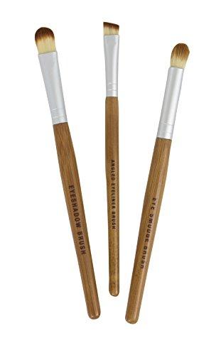 (Bamboo Naturals Makeup Brushes, the Perfect Smokey Eye Kit, Natural Bamboo Handles, Includes Three Brushes: Eyeshadow Brush, Smudge Brush, Angled Eyeliner Brush)