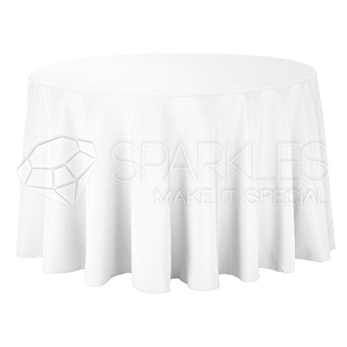 Sparkles Make It Special 10-pcs 120 Inch Round Polyester Cloth Fabric Linen Tablecloth - Wedding Reception Restaurant Banquet Party - Machine Washable - White
