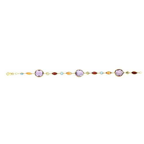 - 14k 7.5 Inch Yellow Gold 1mm Cable Chain Bracelet Alite Round Tear Drop Amethyst Stations Lob-clasp
