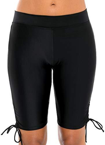 Anwell Women's Swim Shorts Drawstring UPF 50+ Swim Capris Board Shorts Swimsuit Bottom 2XL (Capri Shorts Drawstring)