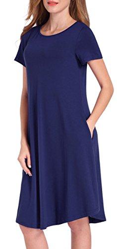 Delcoce Women's Versatile Long Tunic Loose Pockets Dress Plain Shirt Dresses Navy Blue - Lounge Womens Dress