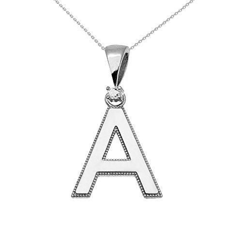 """Collier Femme Pendentif 10 Ct Or Blanc Poli Élevé Milgrain Solitaire Diamant """"A"""" Initiale (Livré avec une 45cm Chaîne)"""