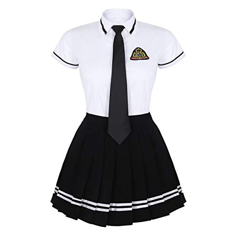 MSemis Woman School Uniform Dress Cosplay Costume Set Short Sleeve Shirt Mini Plaid Skirt with Badge Tie White&Black XXX-Large ()