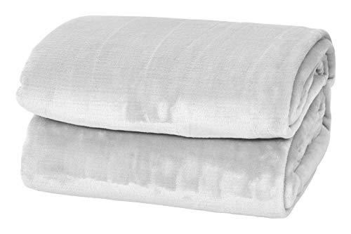 Style Basics Silky Soft Thick Plush Bed Blanket (White, King 90 X 102)