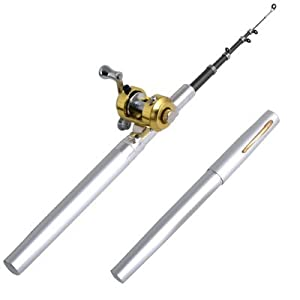 mini pocket aluminum alloy pen fishing rod pole reel